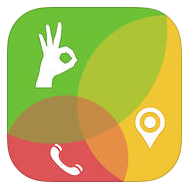 "iTunes logo: green circle with ""okay"" hand signal icon, yellow circle with GPS locator icon, red circle with telephone icon"